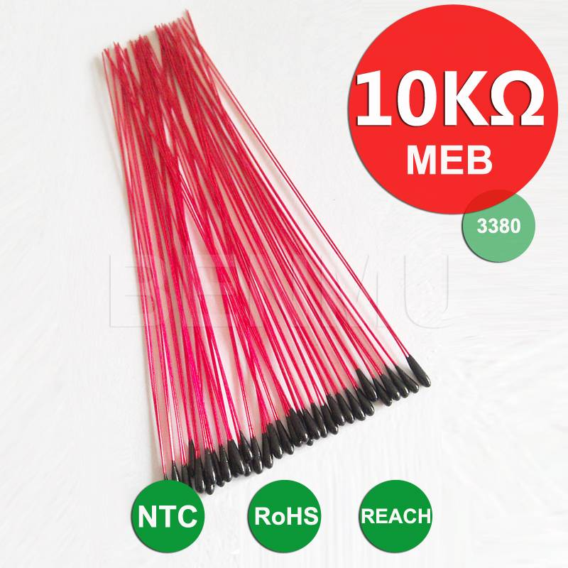 MEB 10K 1% 3380 3435 L60mm insulated leads Epoxy resin encapsulation NTC Thermistor of temperature m