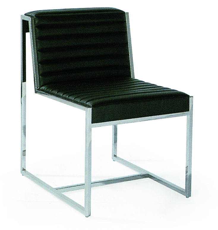 SHIMING FURNITURE MS-3605 Black seated stainless steel foot dinning chair