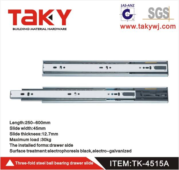 TK-4515 full extension soft close drawer slide with buffer