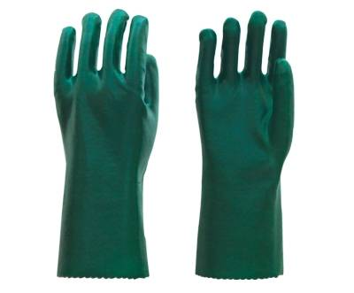 35cm green smooth finished PVC working safety gloves