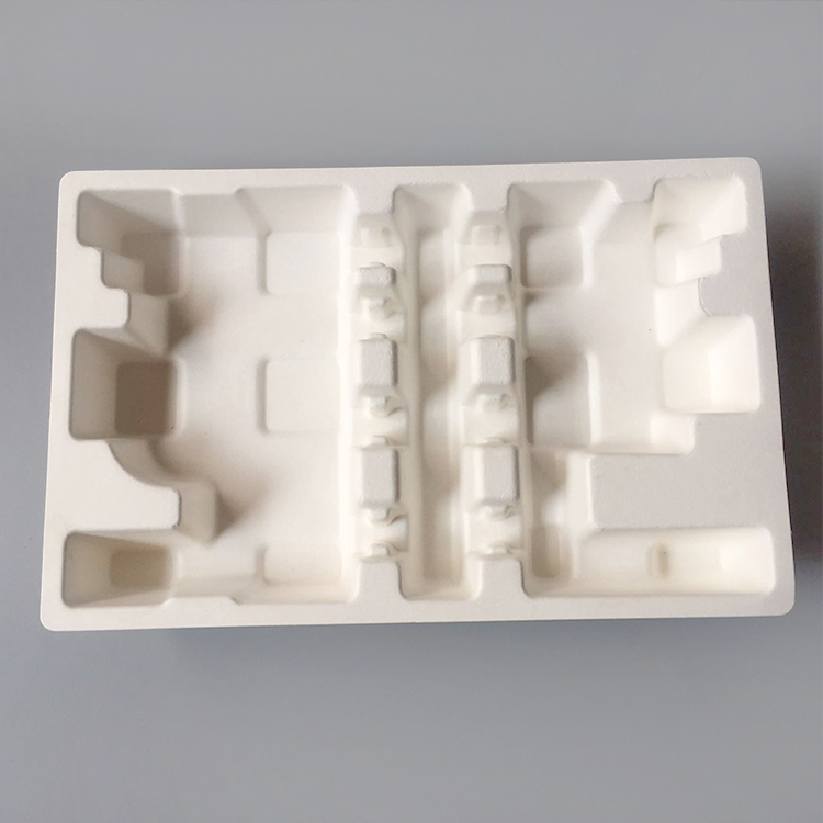 Environmentally friendly switch custom paper tray sugarcane electronics packaging pulp mold
