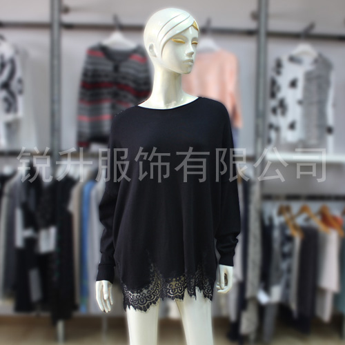 Lace Hem Womens Casual Tops Loose Sweater Fall/Winter Long Sleeve Black Knit Enlarged Dress For Lady