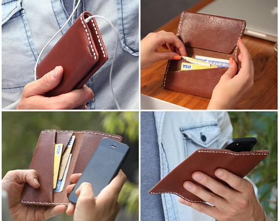 Folio wallet style cover card design leather cases for iphone