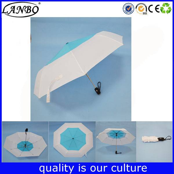 Windproof three folded umbrella fake double auto oipen umrbella