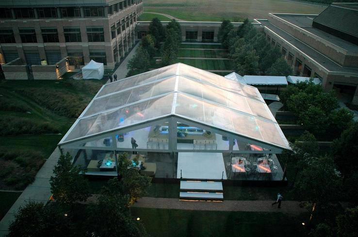 Event tent with clear PVC roof and sidewalls