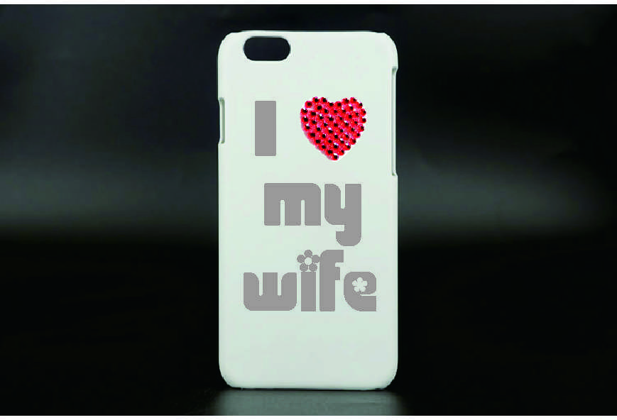Cell phone sticker - I heart my wife