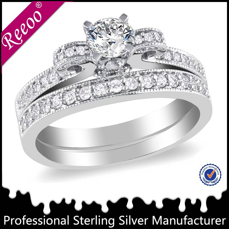 fashion jewelry 925 sterling silver wedding ring with diamond