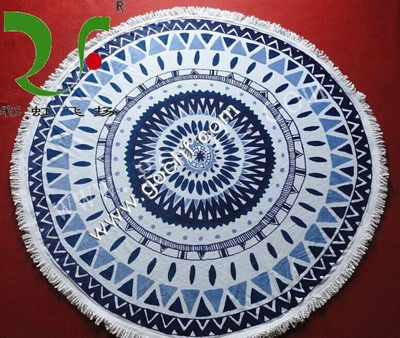 100% cotton large round reactive printed beach towels