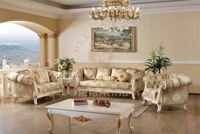 Luxury European Baroque French Antique Living Room Sofa Set