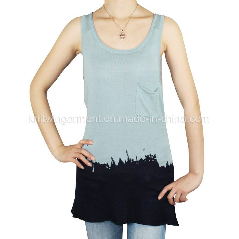 Fashion women Knitted Sleeveless Sweater in thin handfeel