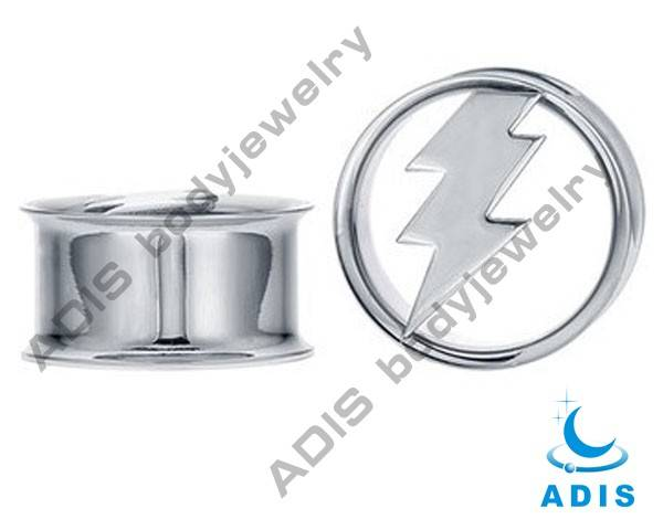 Stainless Steel Ear Expanders with Lightning Logo