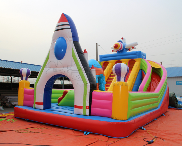 inflatable children castle with rocket gate, air blow bouncer plane castle with slide and ladder