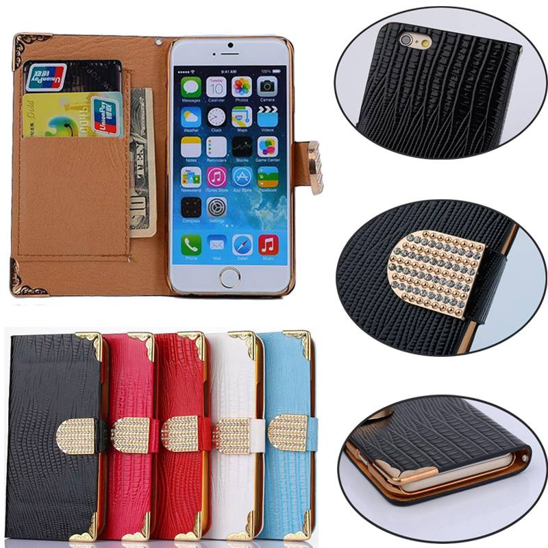 Lizard Texture Magnetic Rhinestone Buckle Wallet PU Leather Case Cover for iPhone 6 6S Plus IP6C123