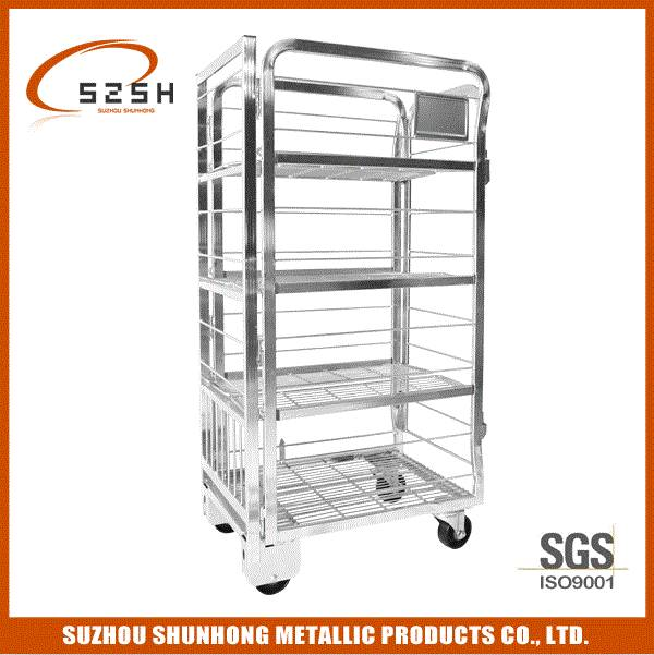 Metal nestable Warehouse Milk Trolley Roll Cage