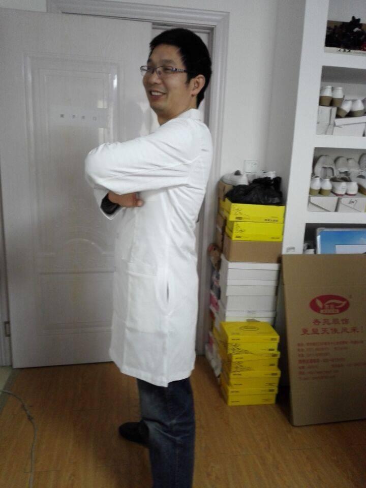 Durable hospital white doctor lab jacket design preshrunk combed cotton uniform