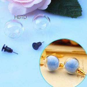 Hand Blown Globe Clear Hollow Jewelry Crystal Glass Ball Covers Earrings Hemisphere