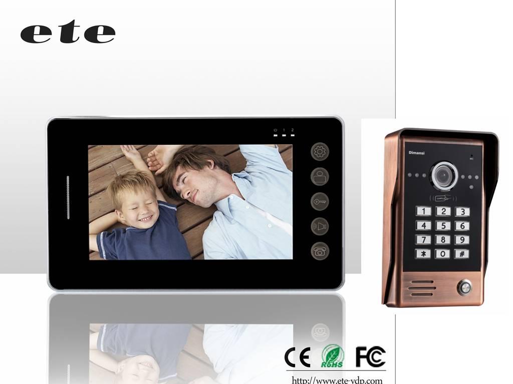 """Support 32GB TF Card door Intercom Digital 7"""" LCD Video Door bell with keypad"""