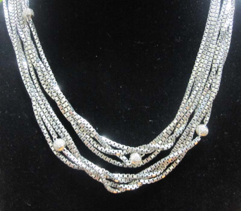 Sterling Silver Jewelry Four Row Box Chain Necklace (N-025)