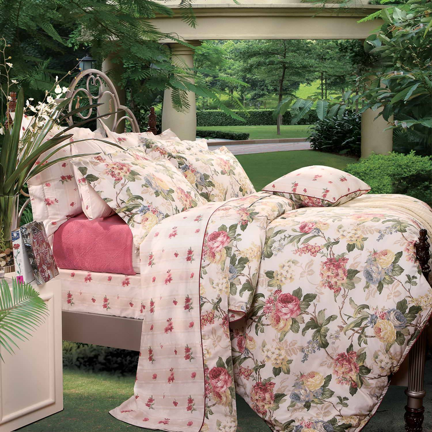 Fuanna Flower Shade 3 Pieces Set Cotton Printed Queen Duvet Cover and Pillow Sham