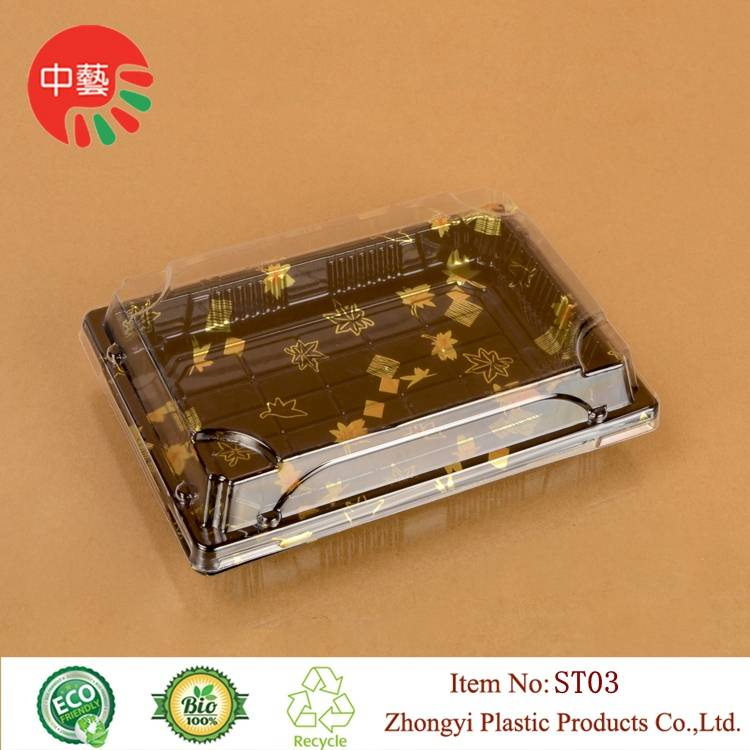 plastic disposable blister sushi tray with clear lid