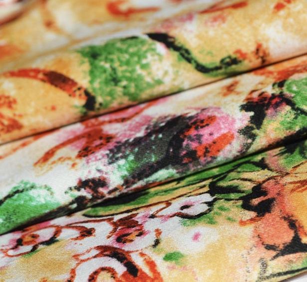 New design 32s sateen spandex flower print fabric cotton