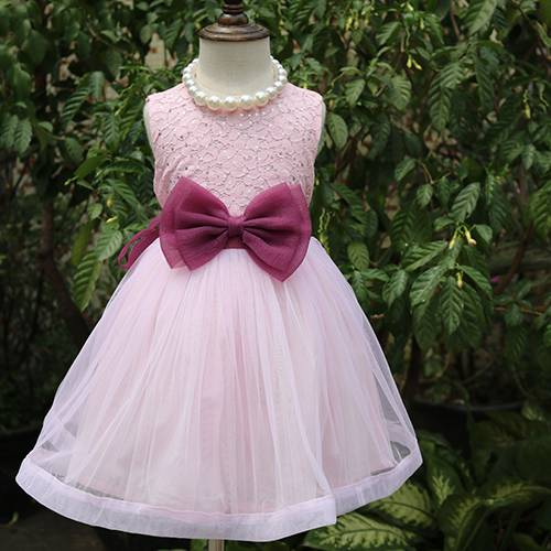 Romantic long styles pink bow belt wedding girl dress for party