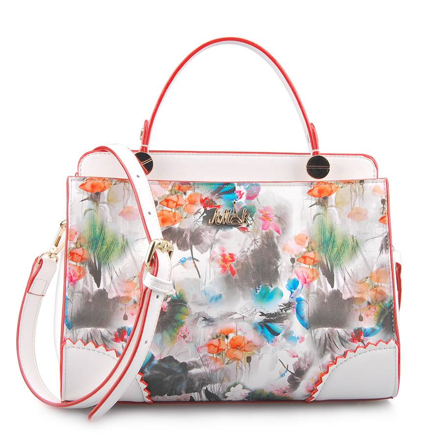 Fresh Style Printing Flower Leather Women Tote Handbag (LY05044)