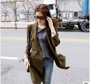 LONG THIN DOUBLE-BREASTED LADIES COAT