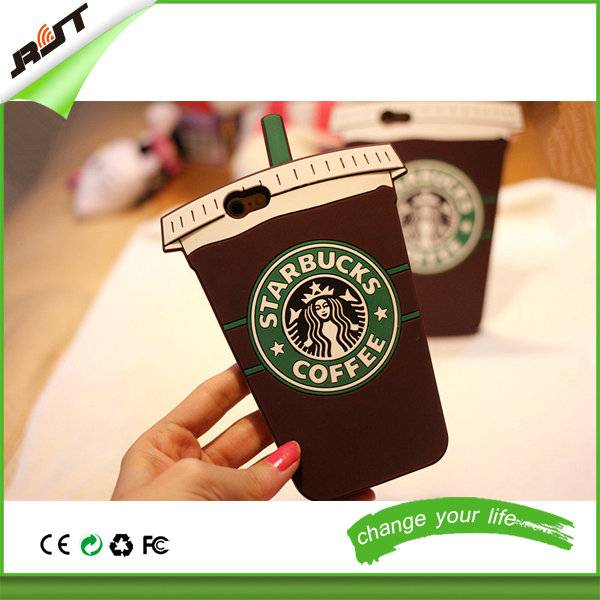 Cell Phone Accessories 3D Cute Coffee Cup Shape Silicone Cases for iPhone 6 6s