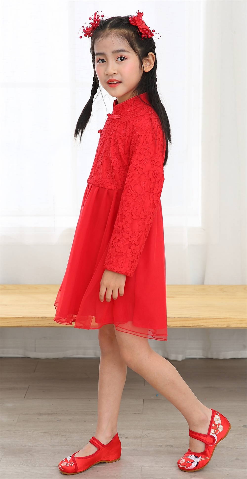 Girl summer long sleeve mandarin colar birthday party Chinese traditional dress Chinese red chiffo