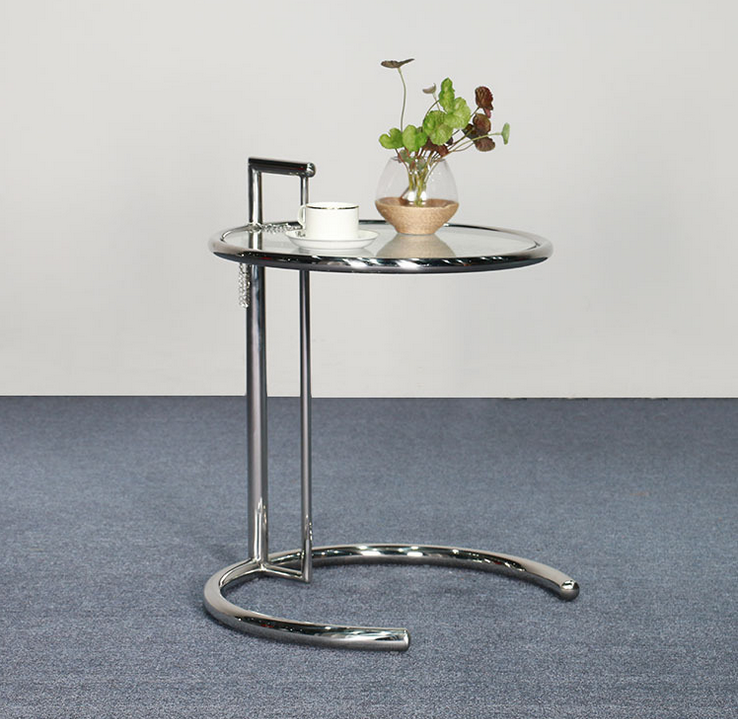 Adjustable glass round Eileen Gray E1027 Side coffee Table