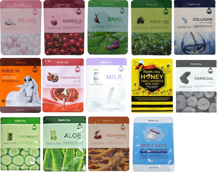 [FarmStay] VISIBLE DIFFERENCE MASK PACK 14 Variants -Premium Korea Face mask