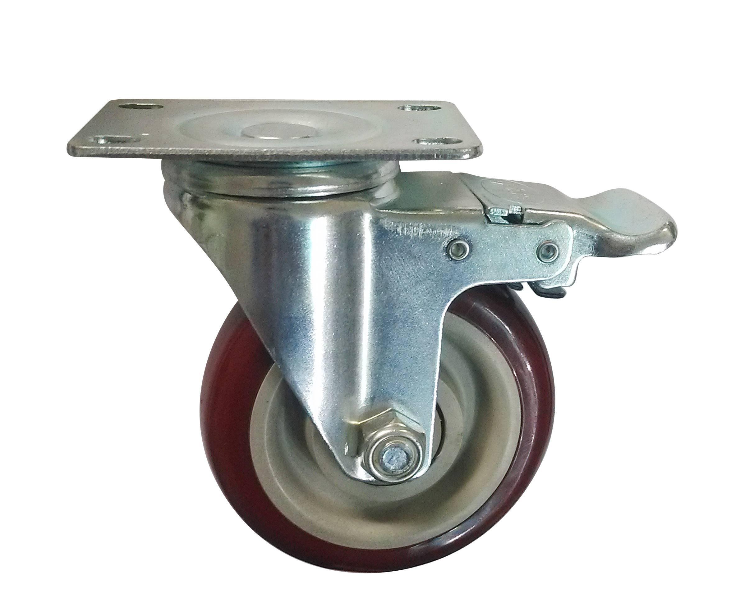 China guangdong factory sales 4 inches of biaxial PU universal brake wheel