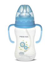 300ml Wide-neck pattern feeding bottle with handle (dual color)