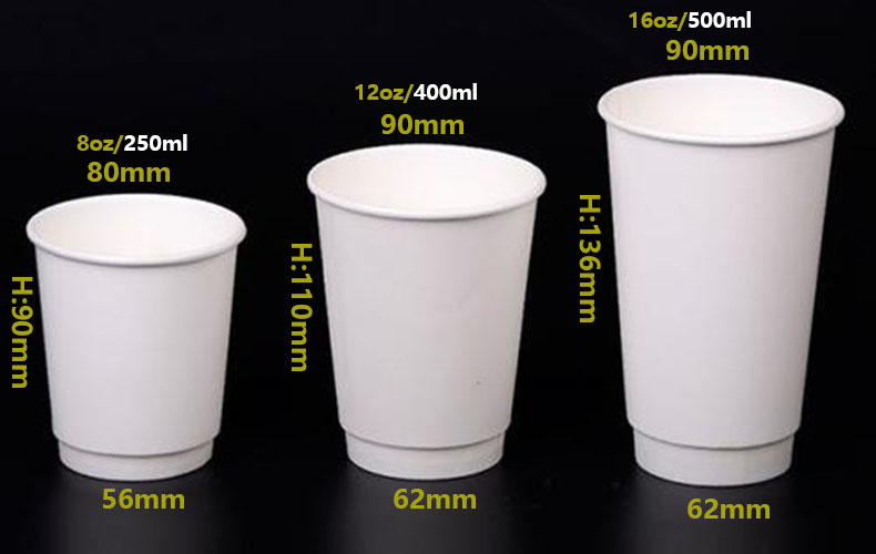 double wall paper cup with pla recovering hot beverage 8oz/12oz/16oz with PS lid