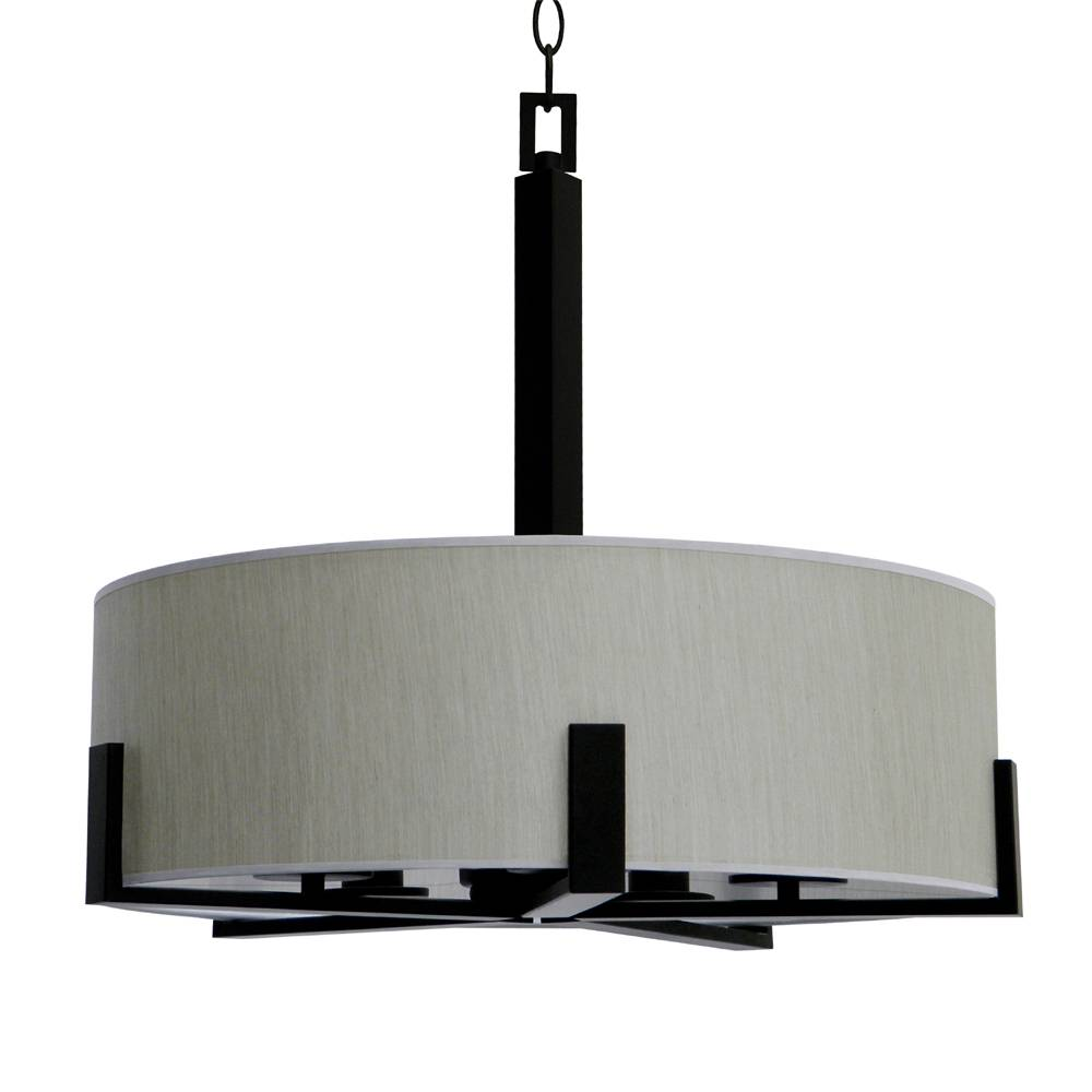 5 light chandelier in ebony brone finish with toffee crunch fabric shade