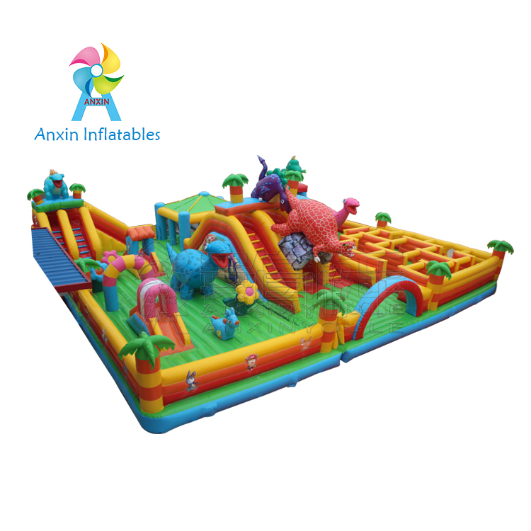 luxury maze playground inflatable dinosaur bouncer playing house with small slide for kids