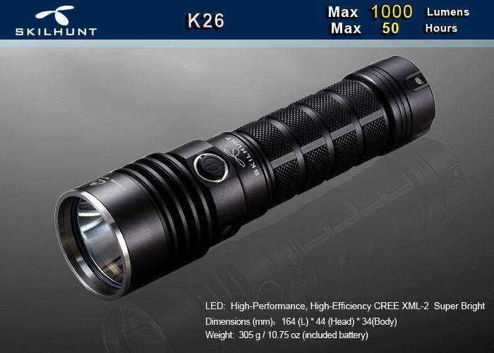 K26 1000 lumens rechargeable flashlight