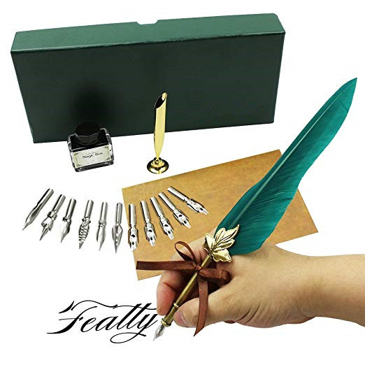 Antique Feather Dip Pen Set Writing Quill Ink Dip Pen set Best Christmas Gifts