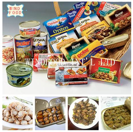 canned mackerel sardines tuna baby clams oyster