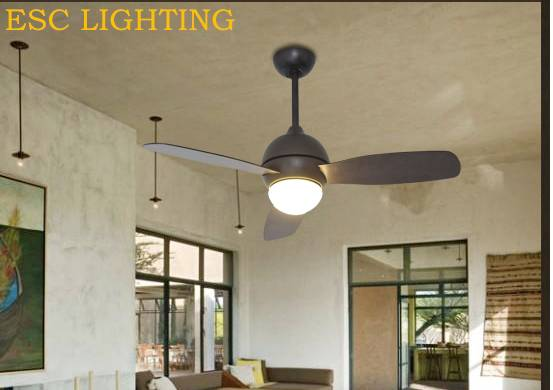 wooden blades ceiling fan with led light hemispherical lampshade