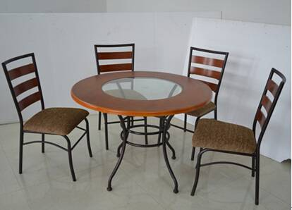 cheap metal frame wooden or glass top dining table and chair