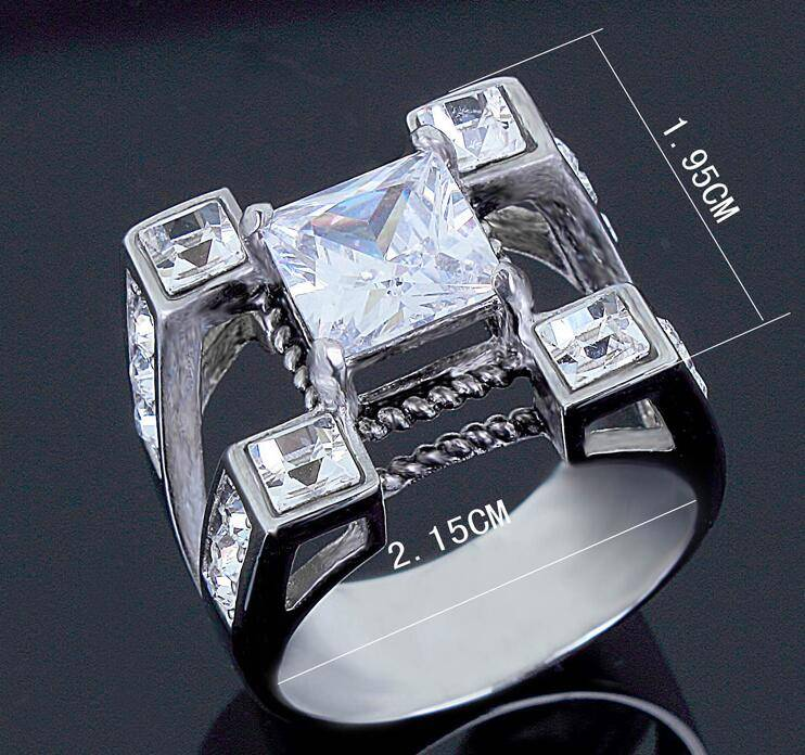 New Coming 316L stainless steel 4 prong setting 9*9 square cz stone finger ring