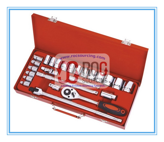 Metal Tool Box Packed 25PCS Socket Set Socket Wrench Other Spanner Plier Screwdriver Hand tool Tool
