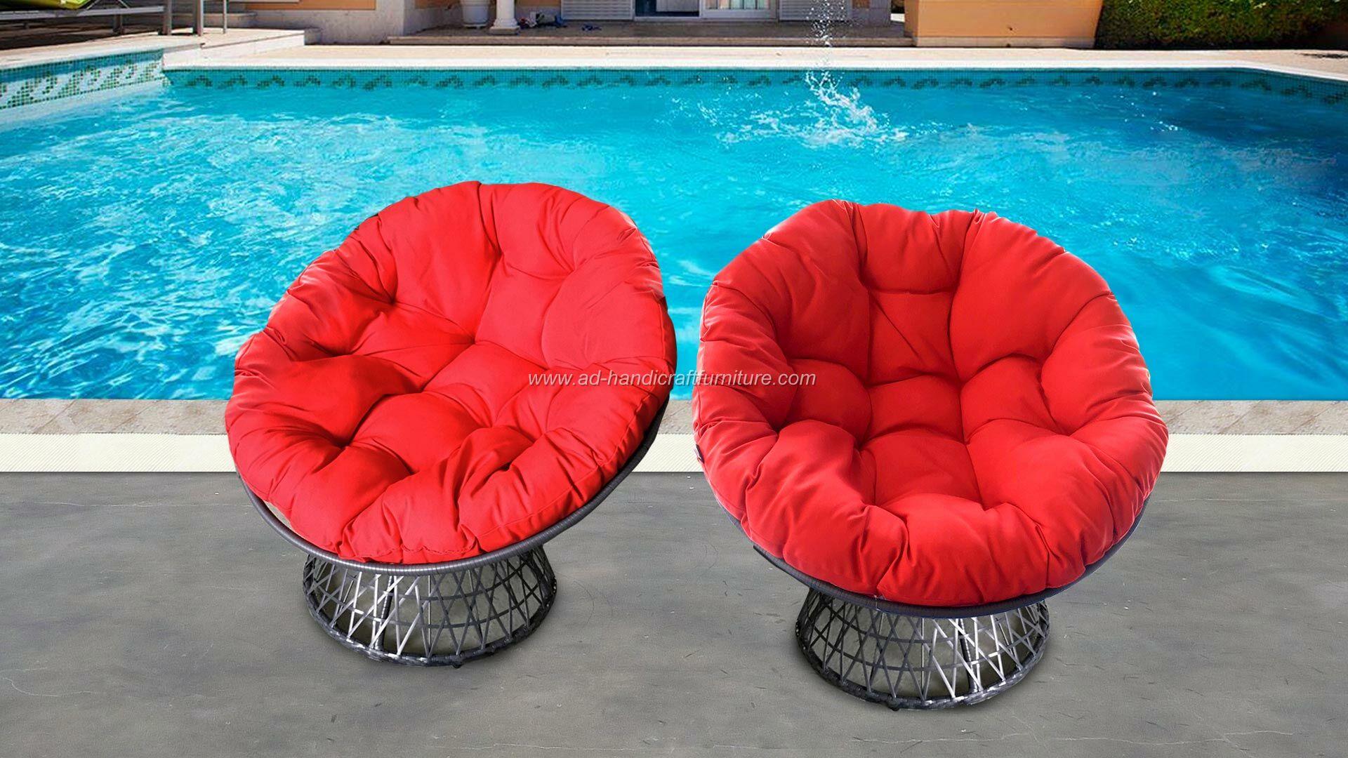 Poly rattan swivel chair with BIG cushion