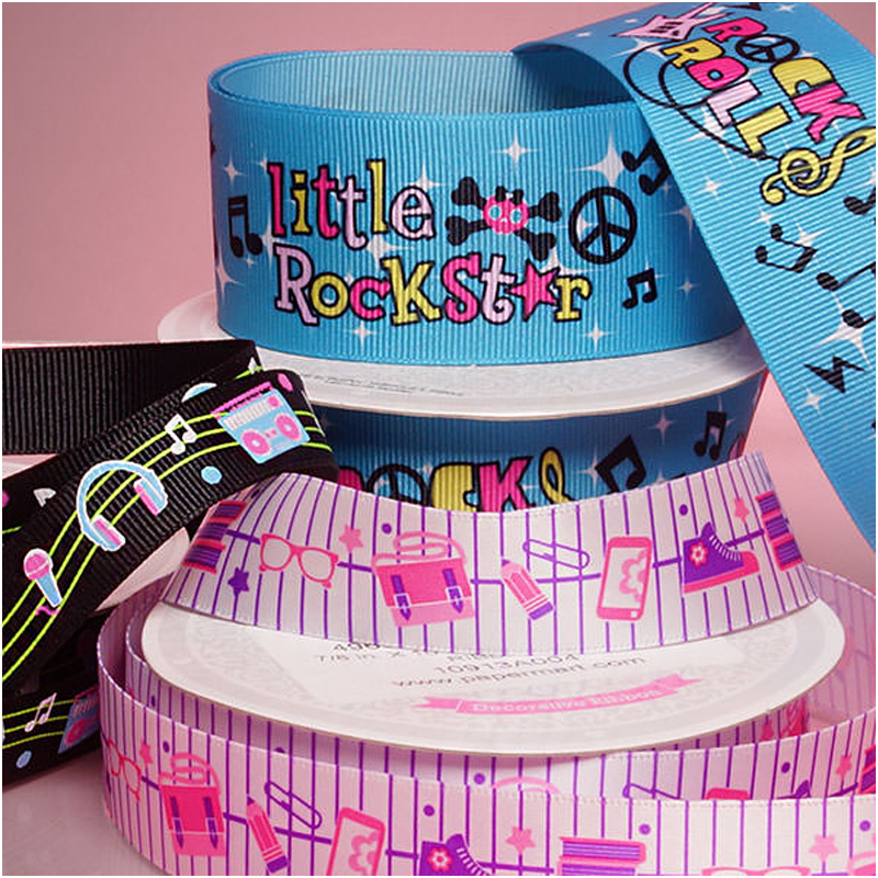 Personalized Printing Satin Silk Cotton Cloth Custom Printed Grosgrain Ribbon with Logo