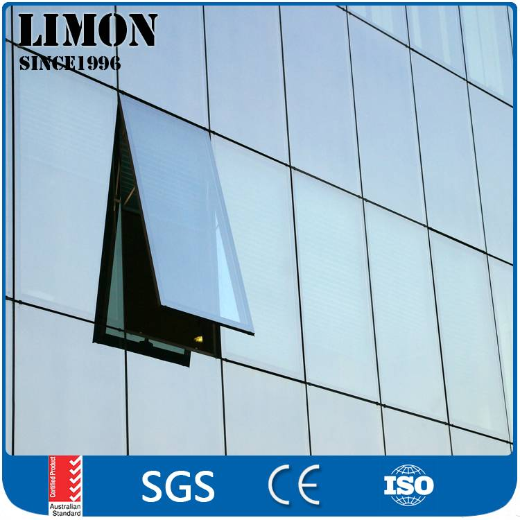 Double glazed aluminium profile glass curtain wall with AS2047
