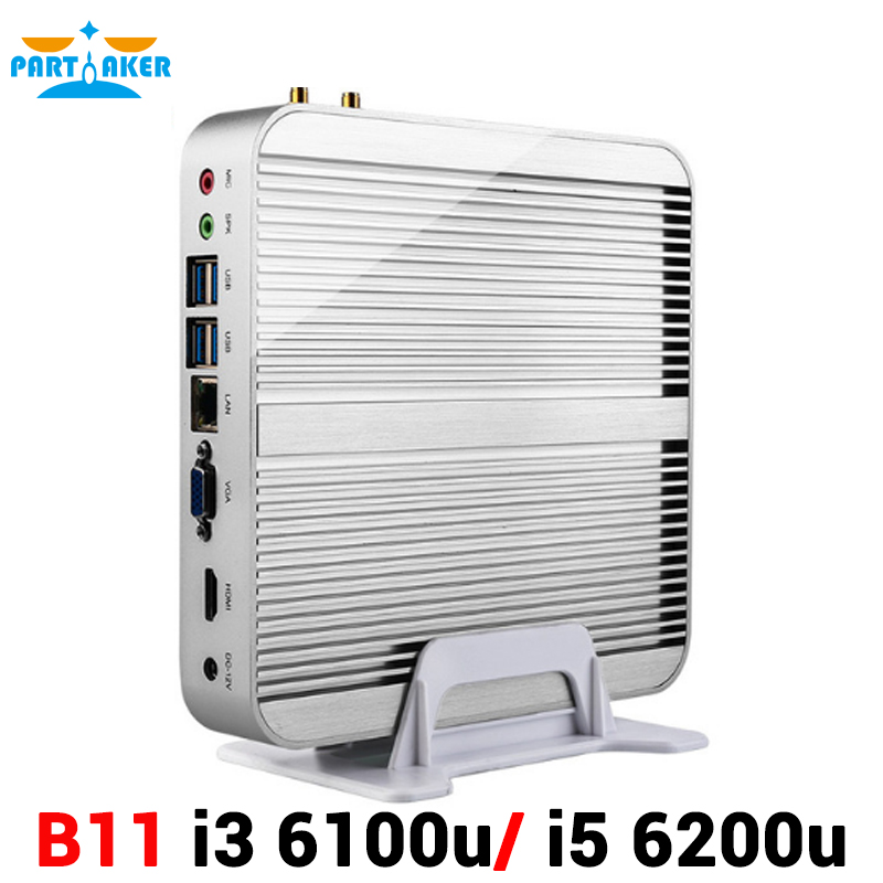 Fanless 6th Gen Skylake Windows 10 Business Mini PC with Core i3 6100U i5 6200U Processor