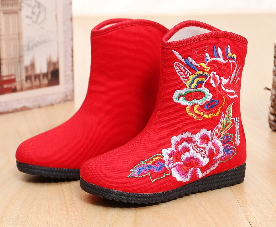 Girl autumn winter old Beijing embroidered shoes ethnic style thermal warm ankle cloth zipper canv