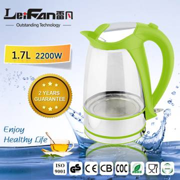 helpful machine 1.7L glass water kettle with stainless steel decoration